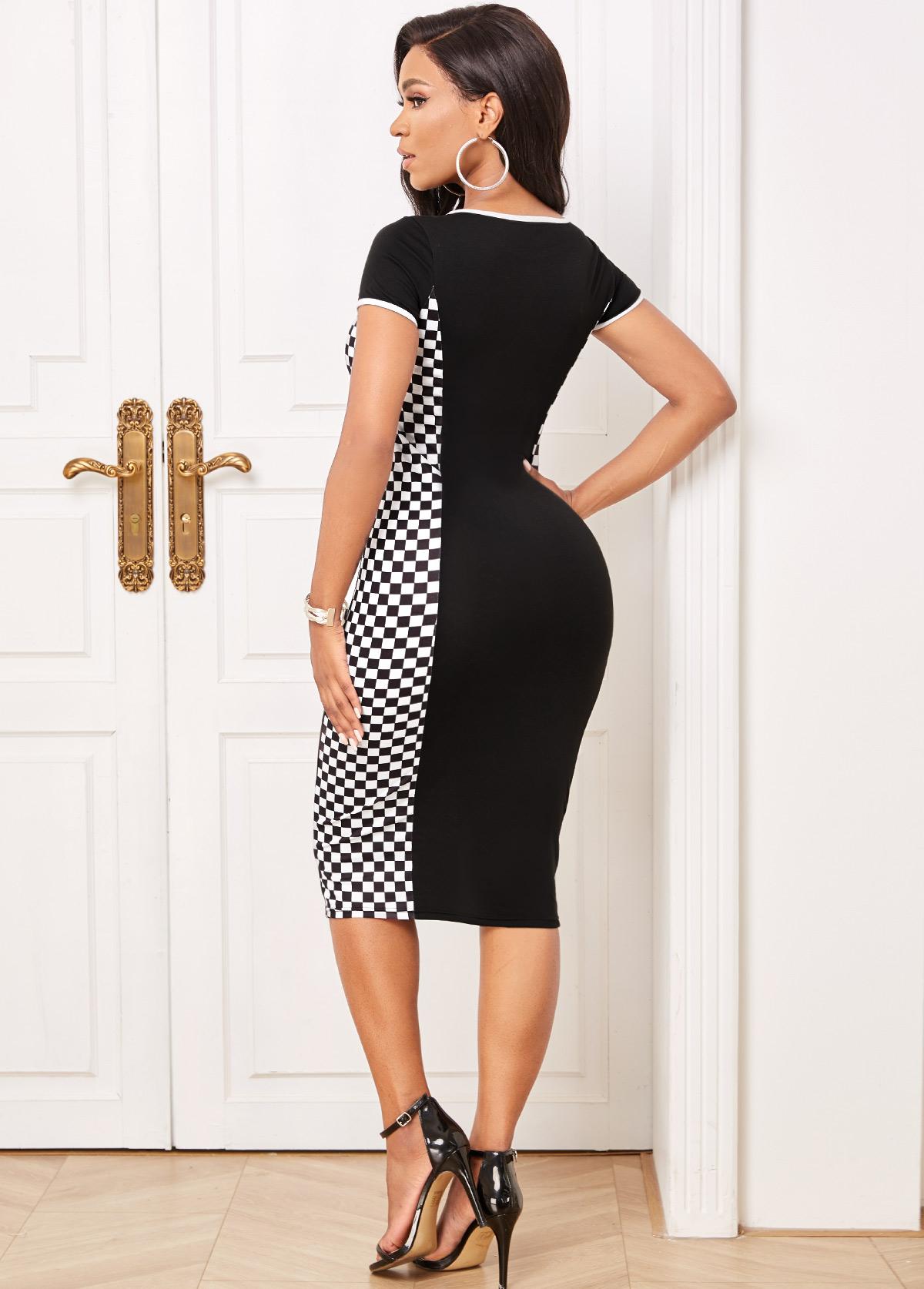 Short Sleeve Plaid Round Neck Dress