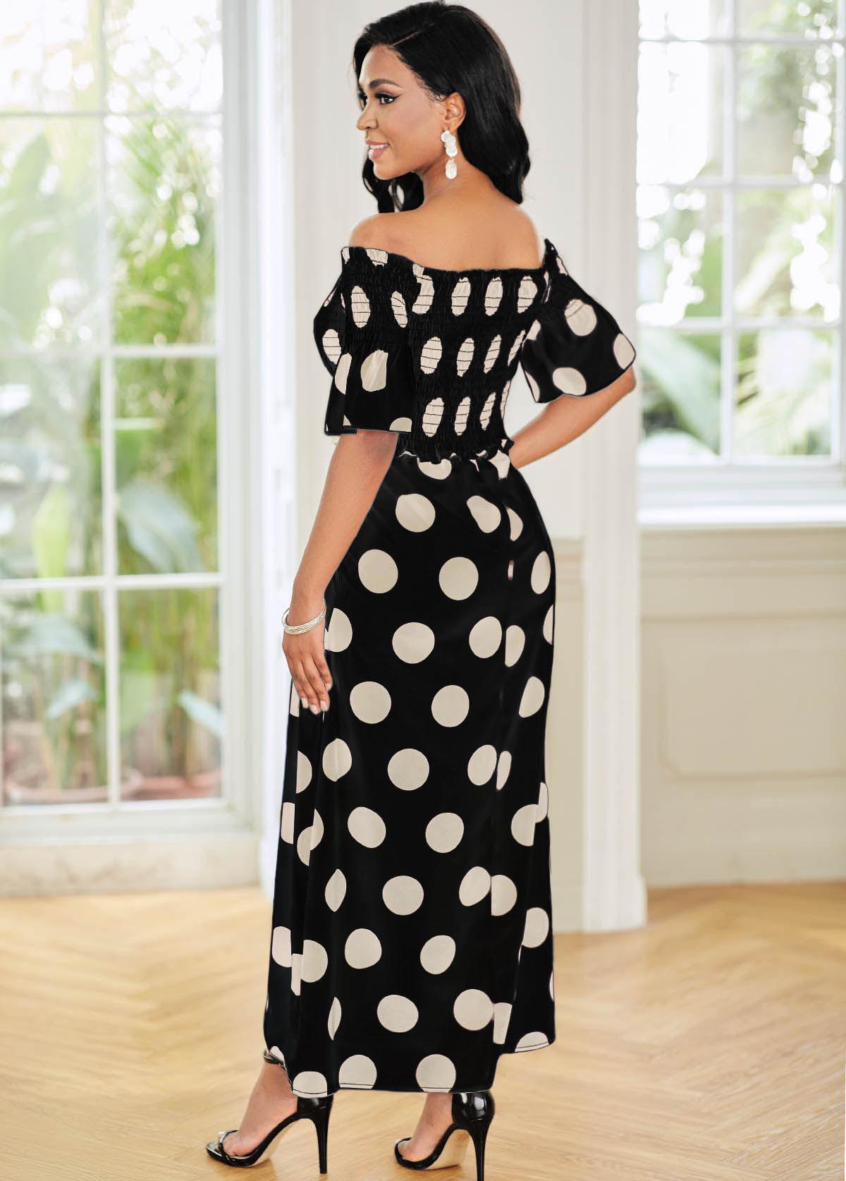 Off Shoulder Shirred Polka Dot Dress
