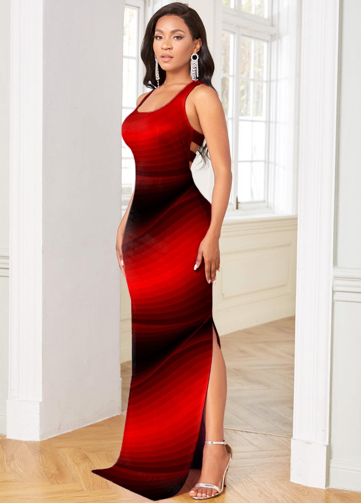 High Slit Ombre Cutout Detail Sleeveless Bodycon Dress