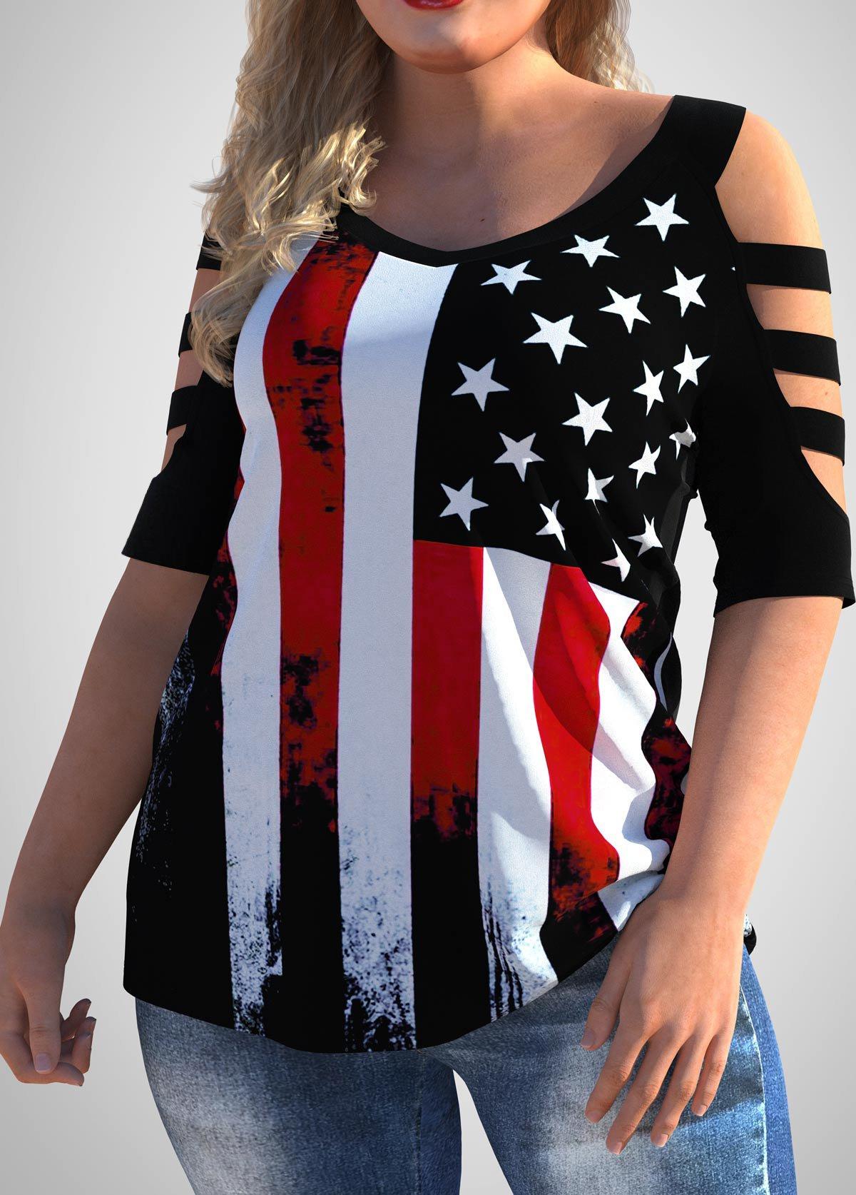Cold Shoulder Plus Size American Flag Print T Shirt