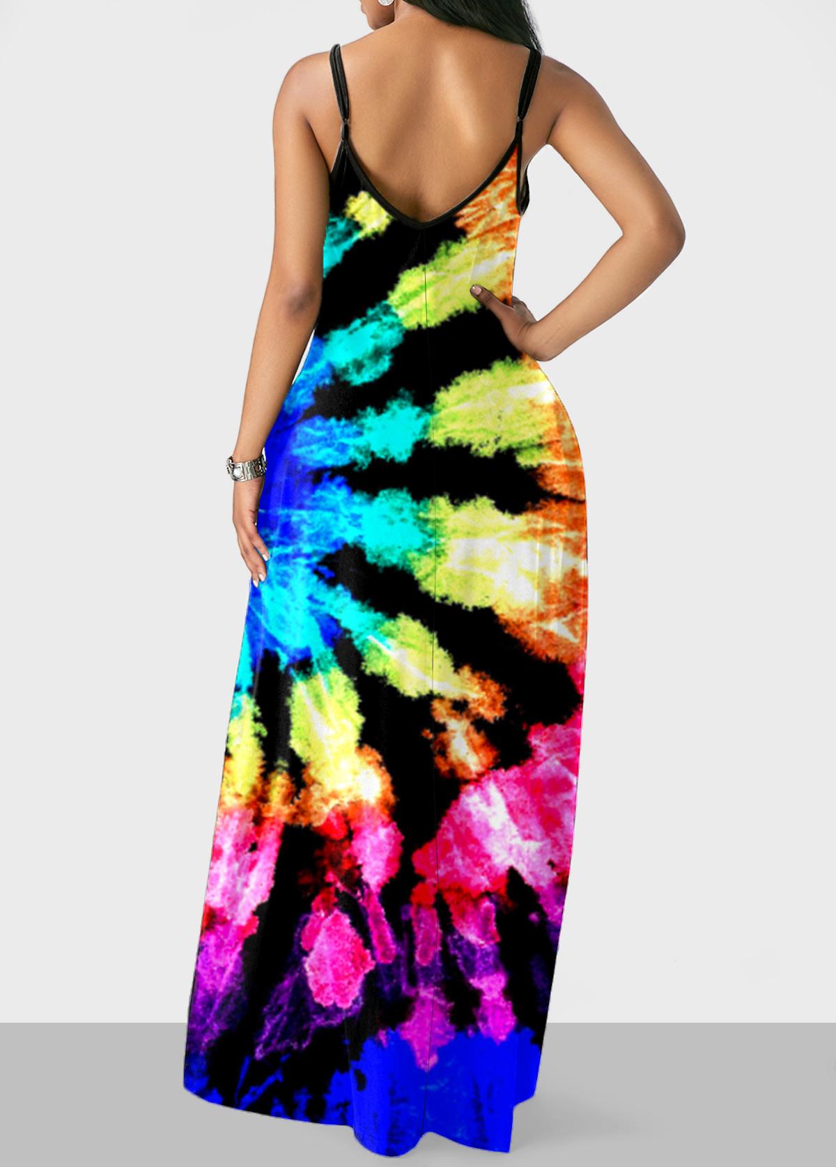 Multicolor Tie Dye Print Maxi Dress