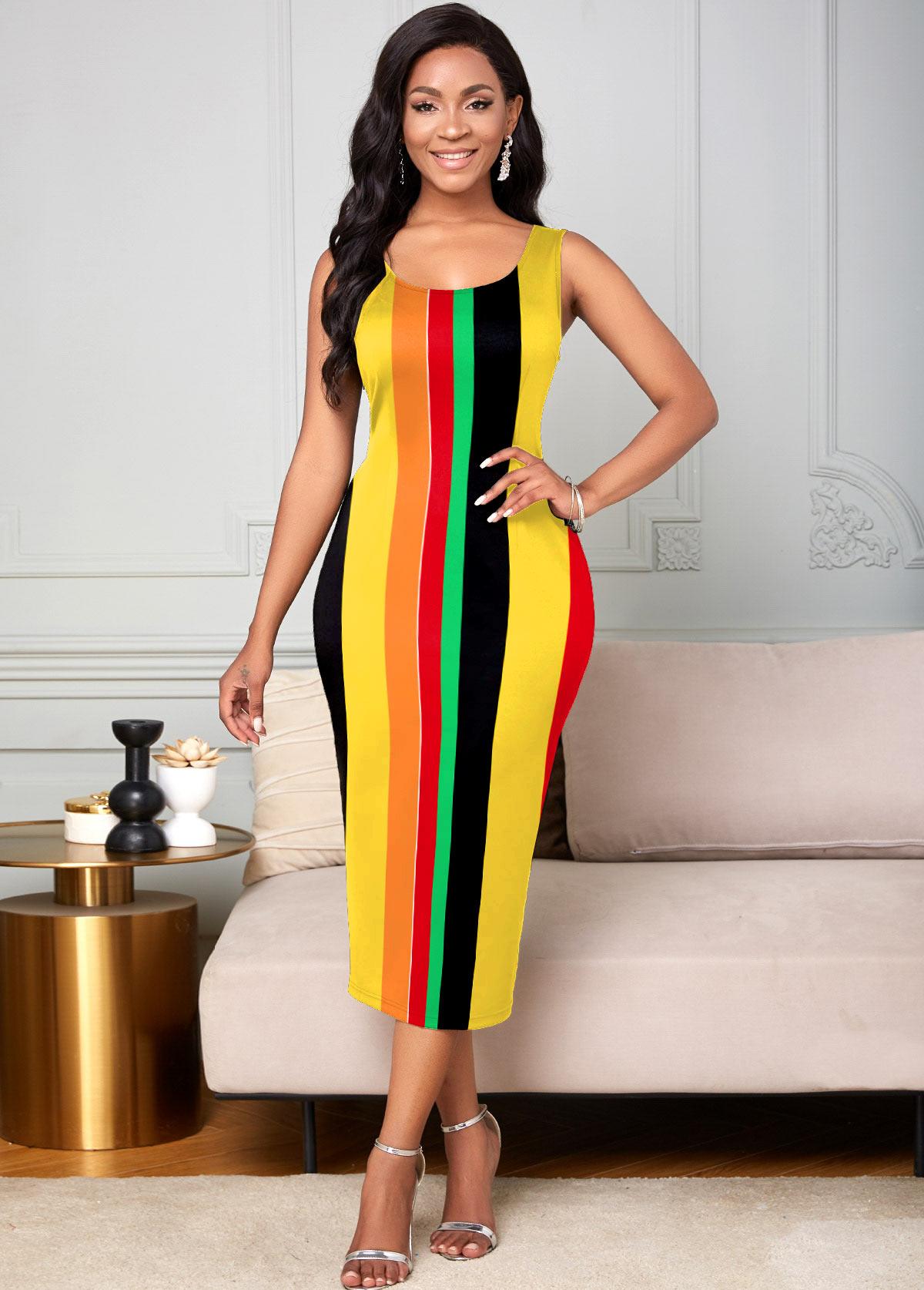 Round Neck Sleeveless Rainbow Stripe Dress