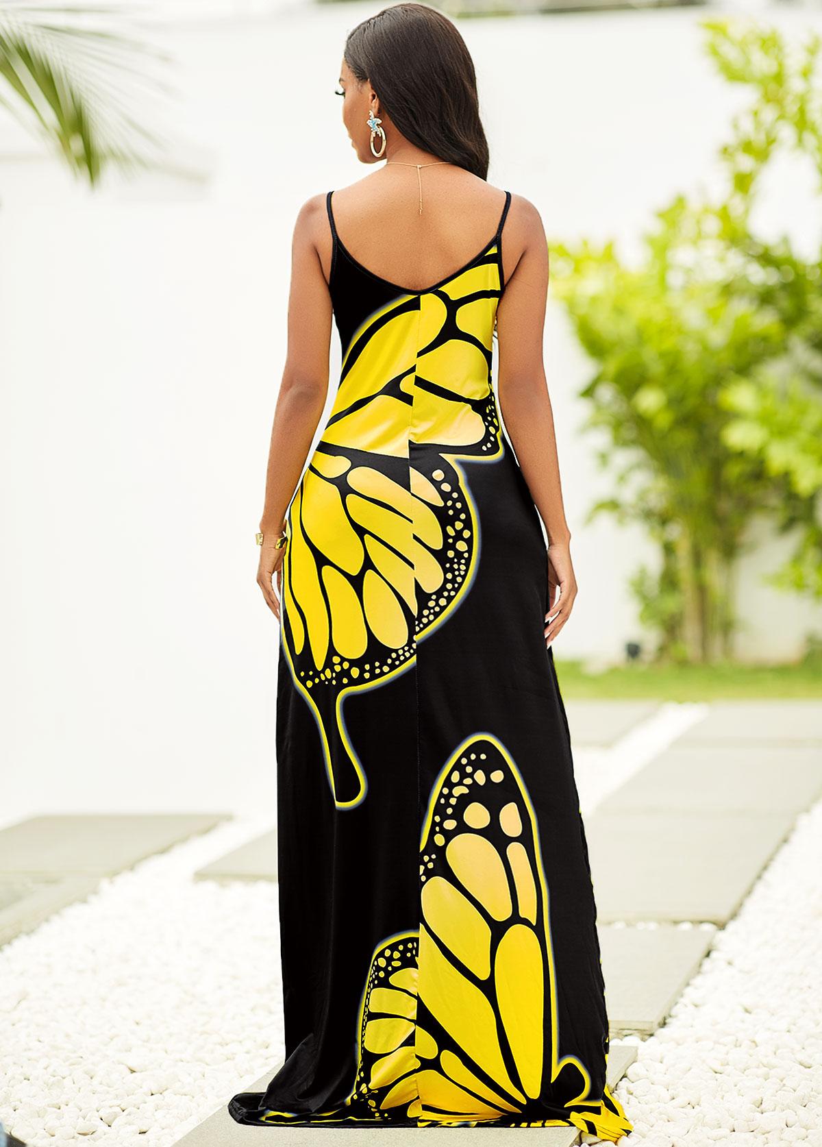 Butterfly Print Spaghetti Strap Maxi Dress