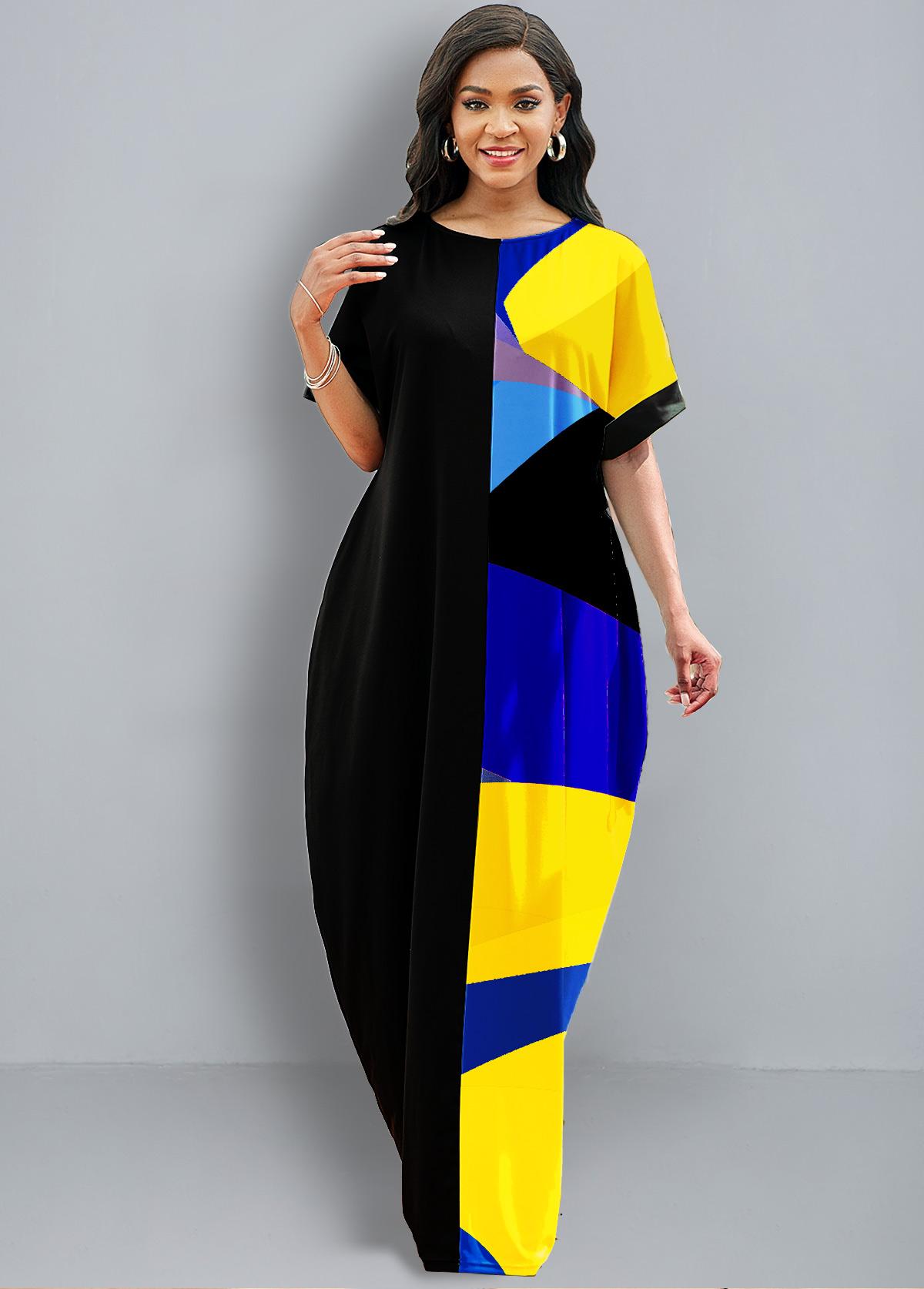 Pocket Geometric Print Half Sleeve Dress