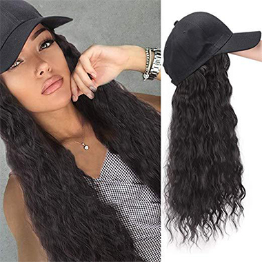 Black Wave Hat Integrated Wig for Women
