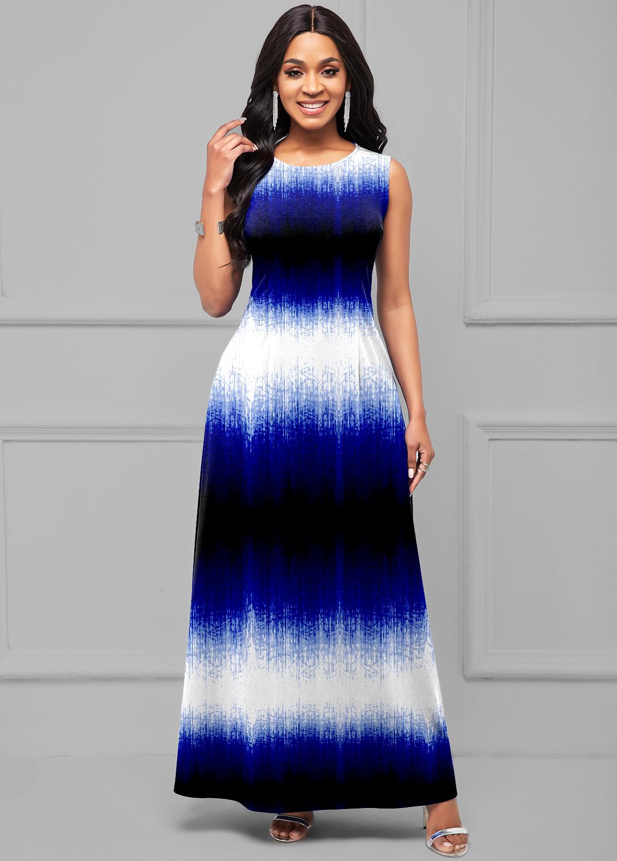 Sleeveless Ombre Round Neck Maxi Dress