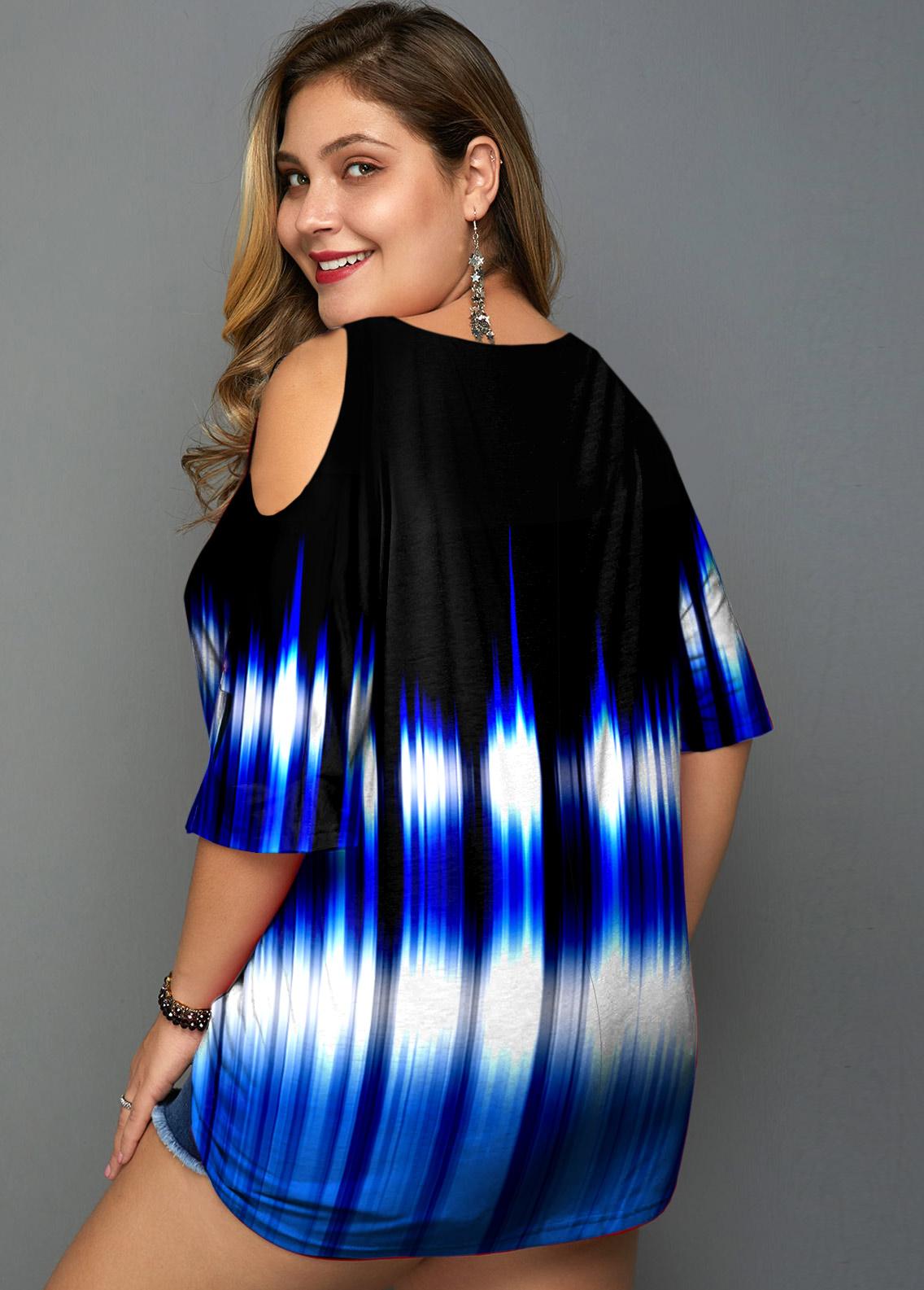 Cold Shoulder Plus Size Colorful Print T Shirt
