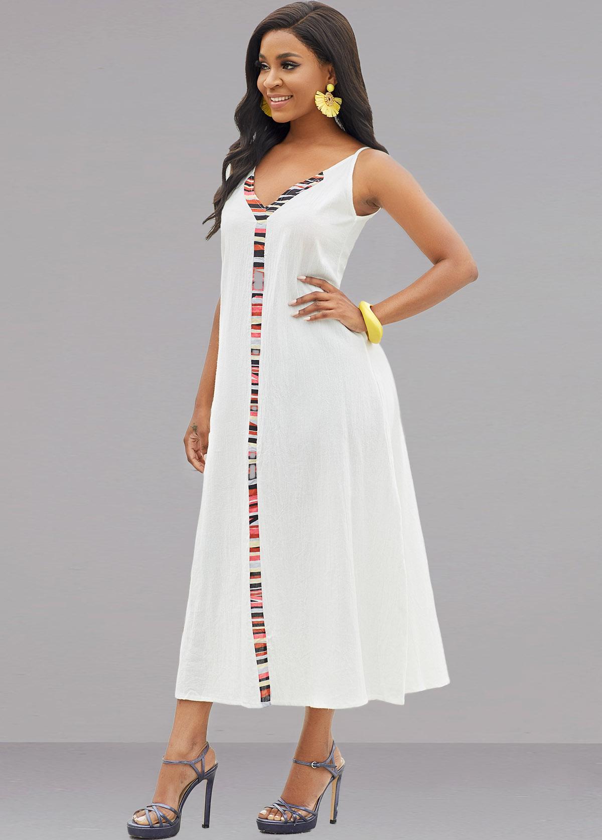Sleeveless V Neck Rainbow Stripe Dress