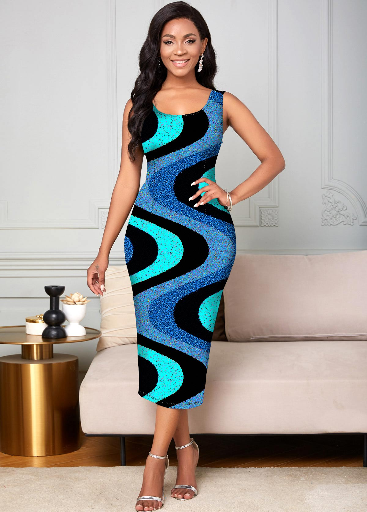 Round Neck Colorful Wide Strap Dress