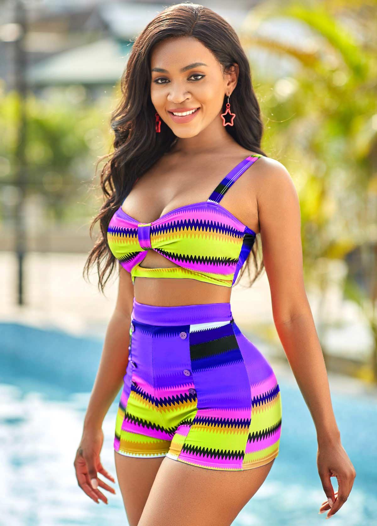 High Waisted Colorful Geometric Print Plus Size Bikini Set