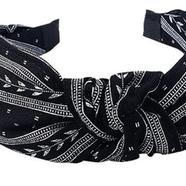 Knot Detail Tribal Print Black Headband