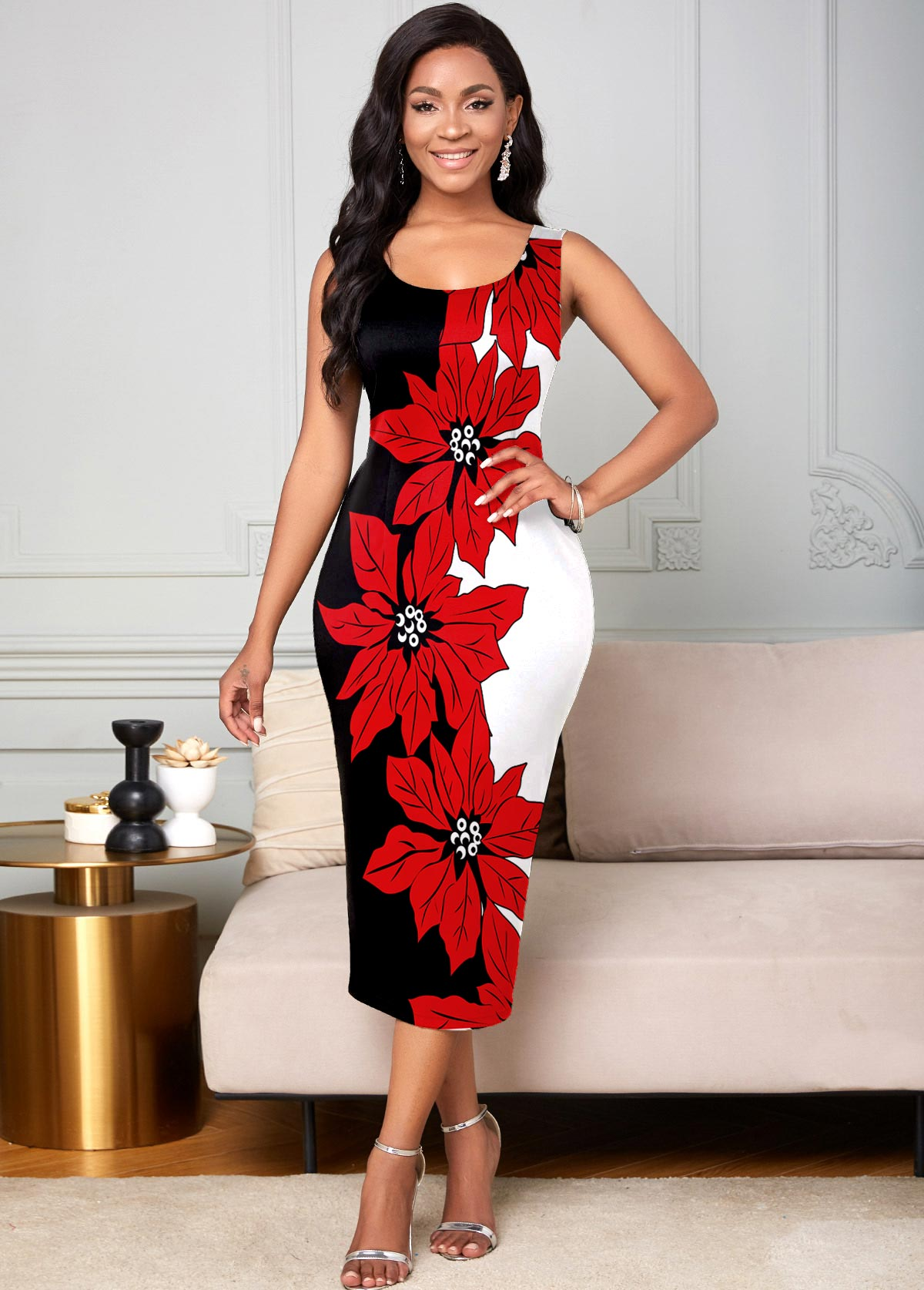 Floral Print Round Neck Tank Dress