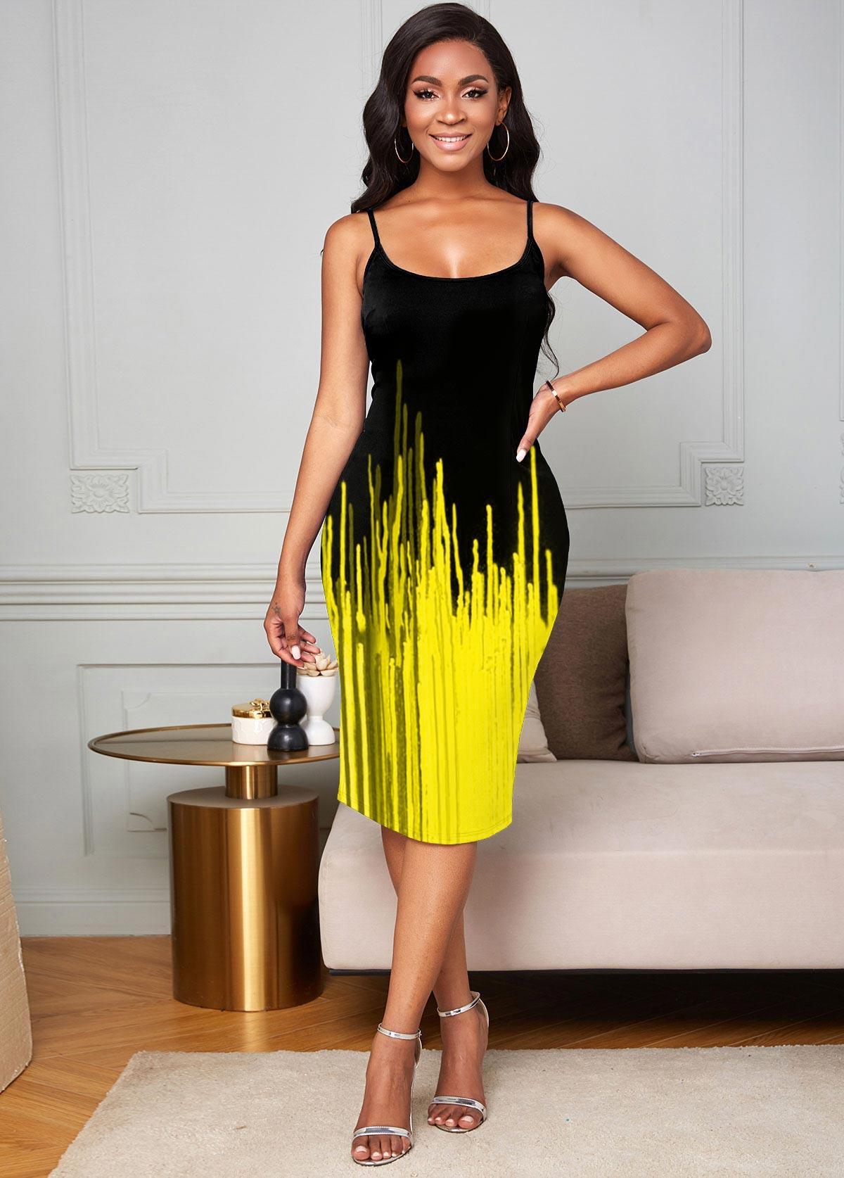Ombre Printed Spaghetti Strap Bodycon Dress