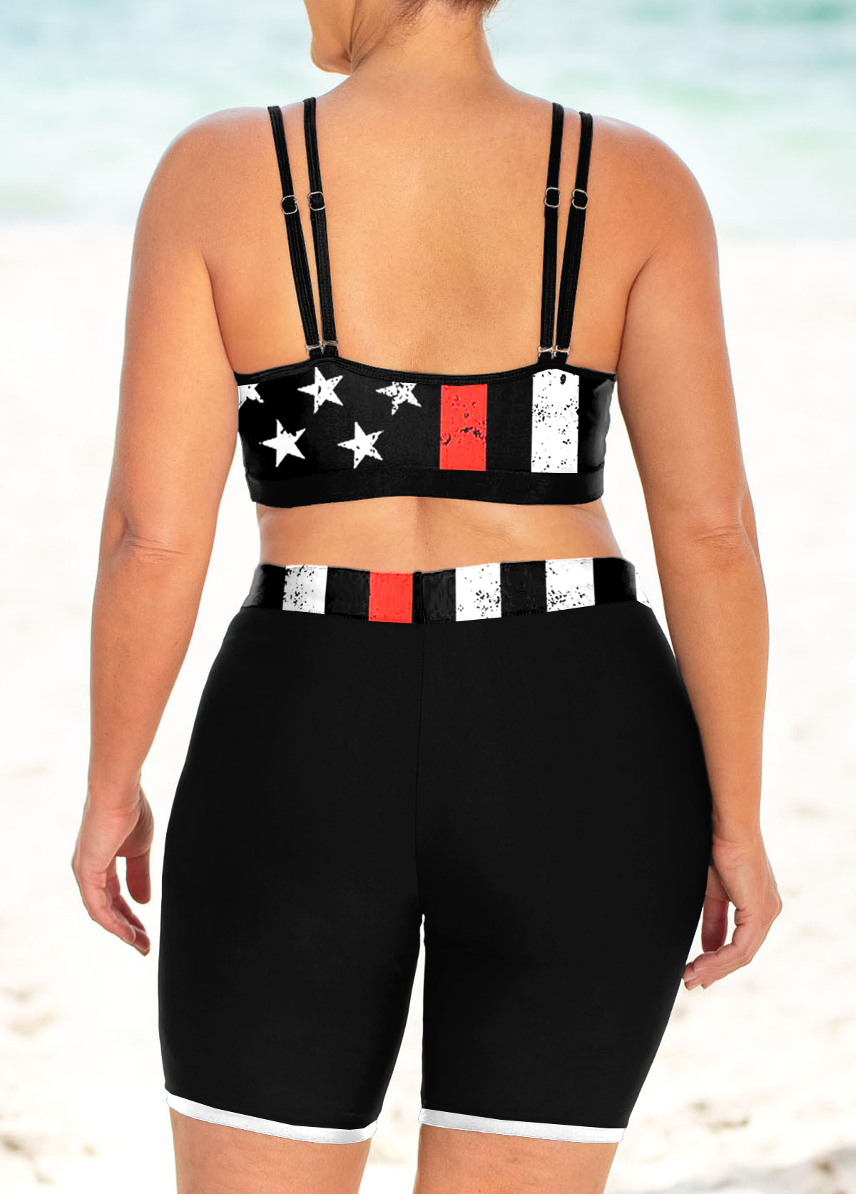 Double Straps Plus Size American Flag Print Bikini Set