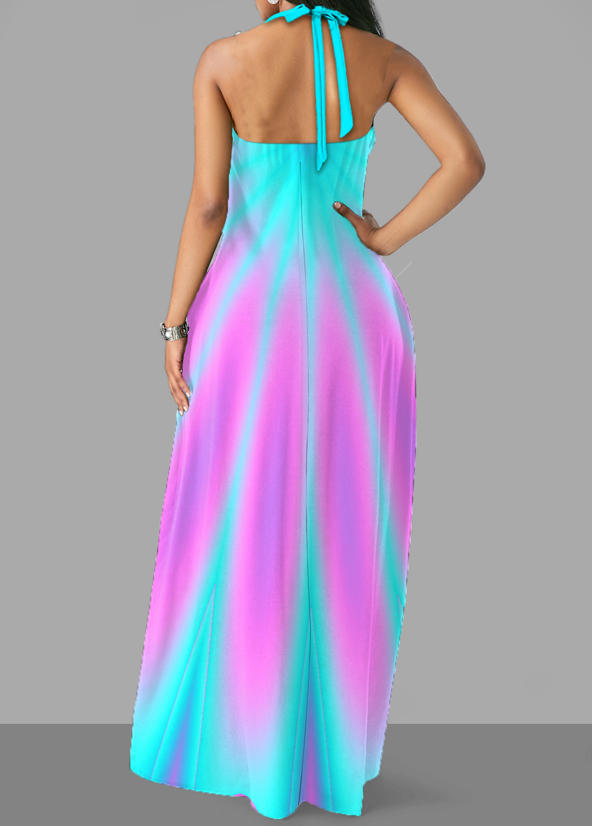 Halter Cross Strap Colorful Maxi Dress