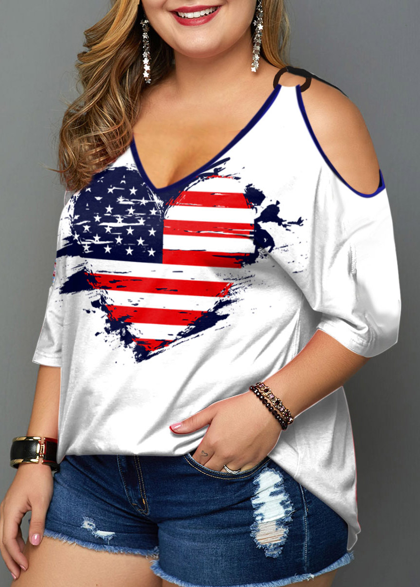 American Flag Print Cold Shoulder Plus Size T Shirt