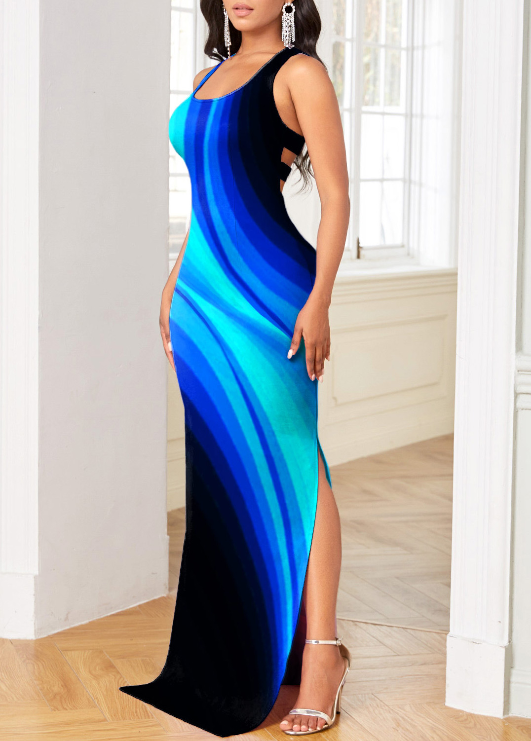 Ombre Printed Side Slit Maxi Derss