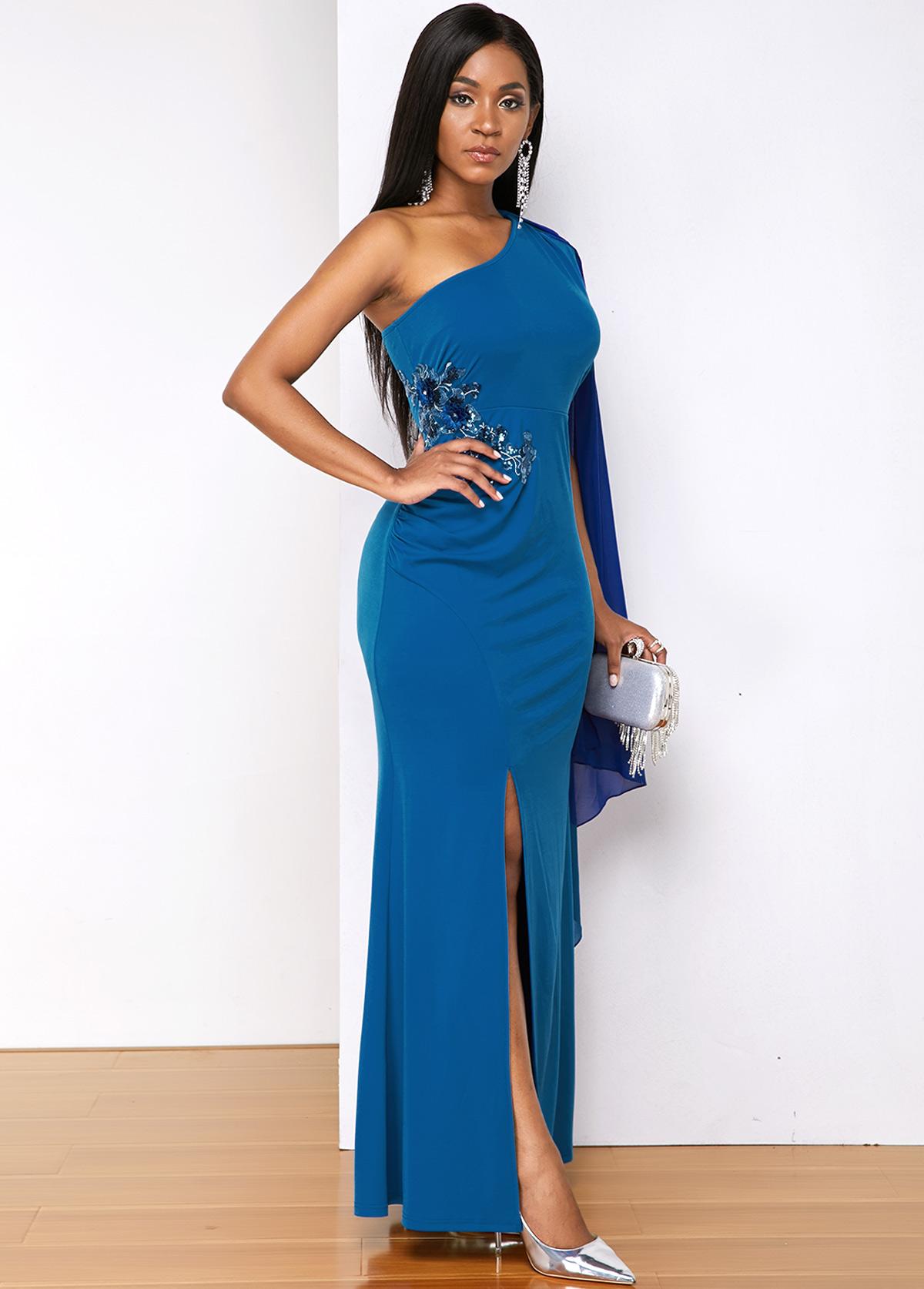 Blue Sequin Detail One Shoulder Side Slit Dress