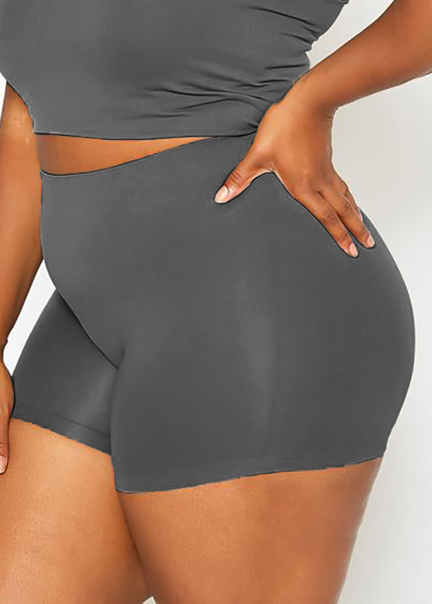 Solid Plus Size High Waisted Swim Shorts