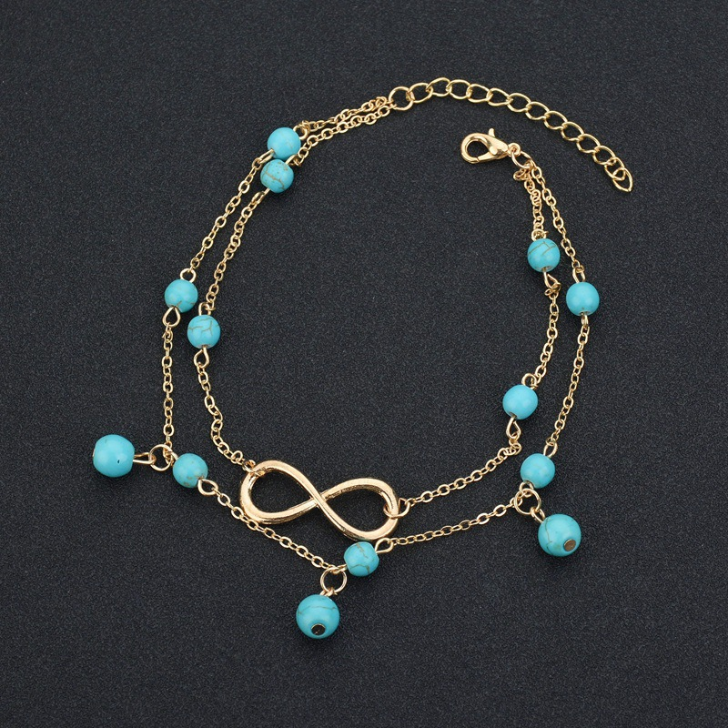 Turquoise Design Metal Detail Double Anklet