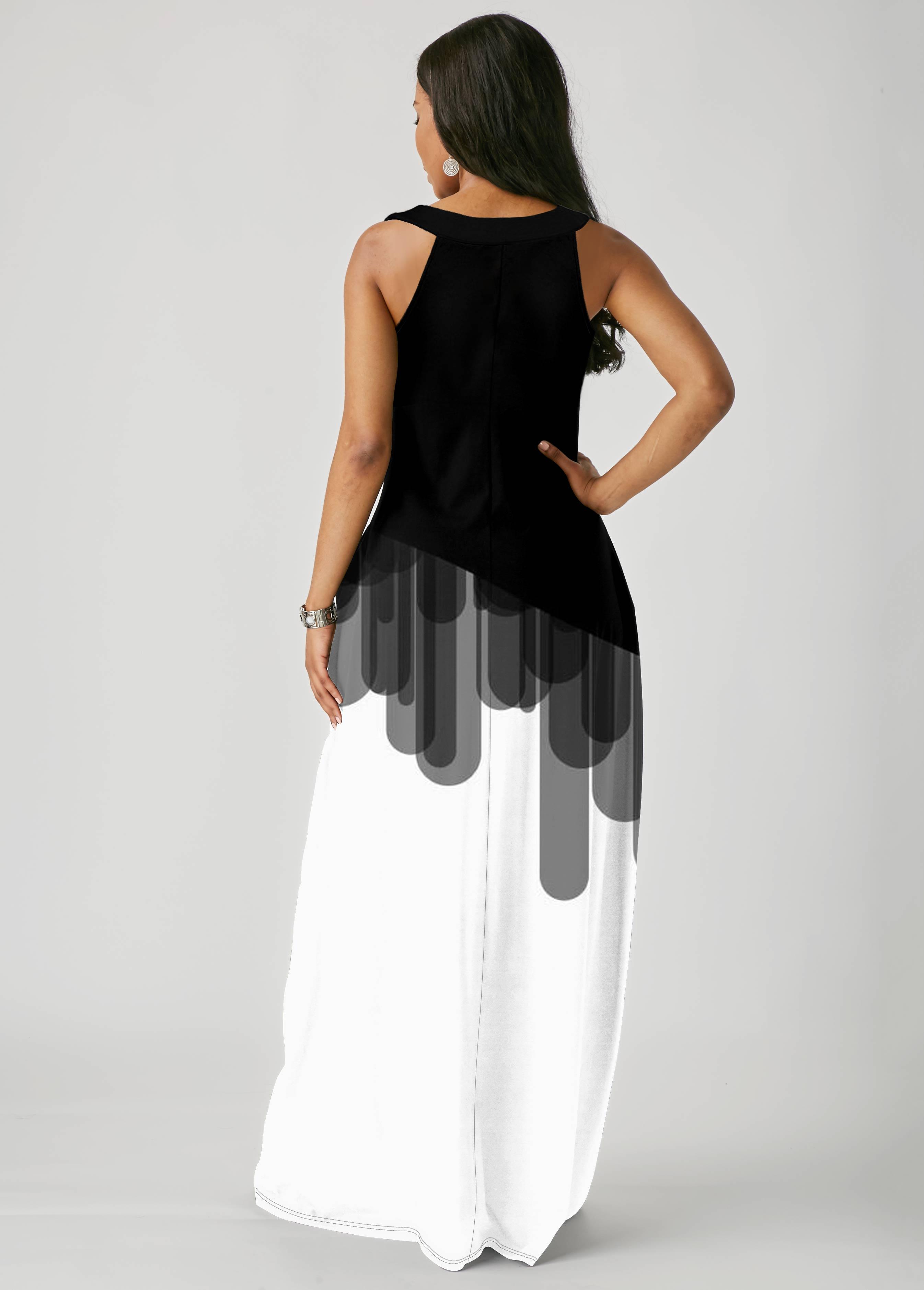 Sleeveless Color Block Ladder Cutout Dress