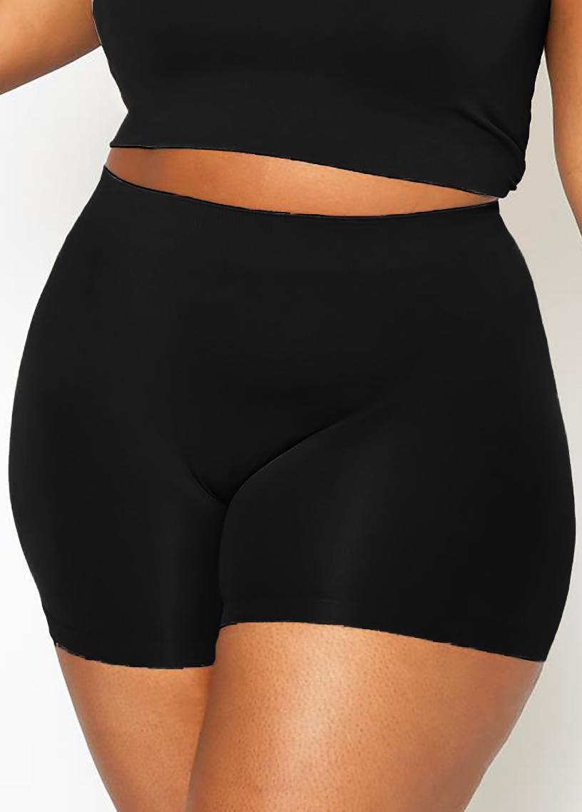Solid Plus Size High Waist Swim Shorts