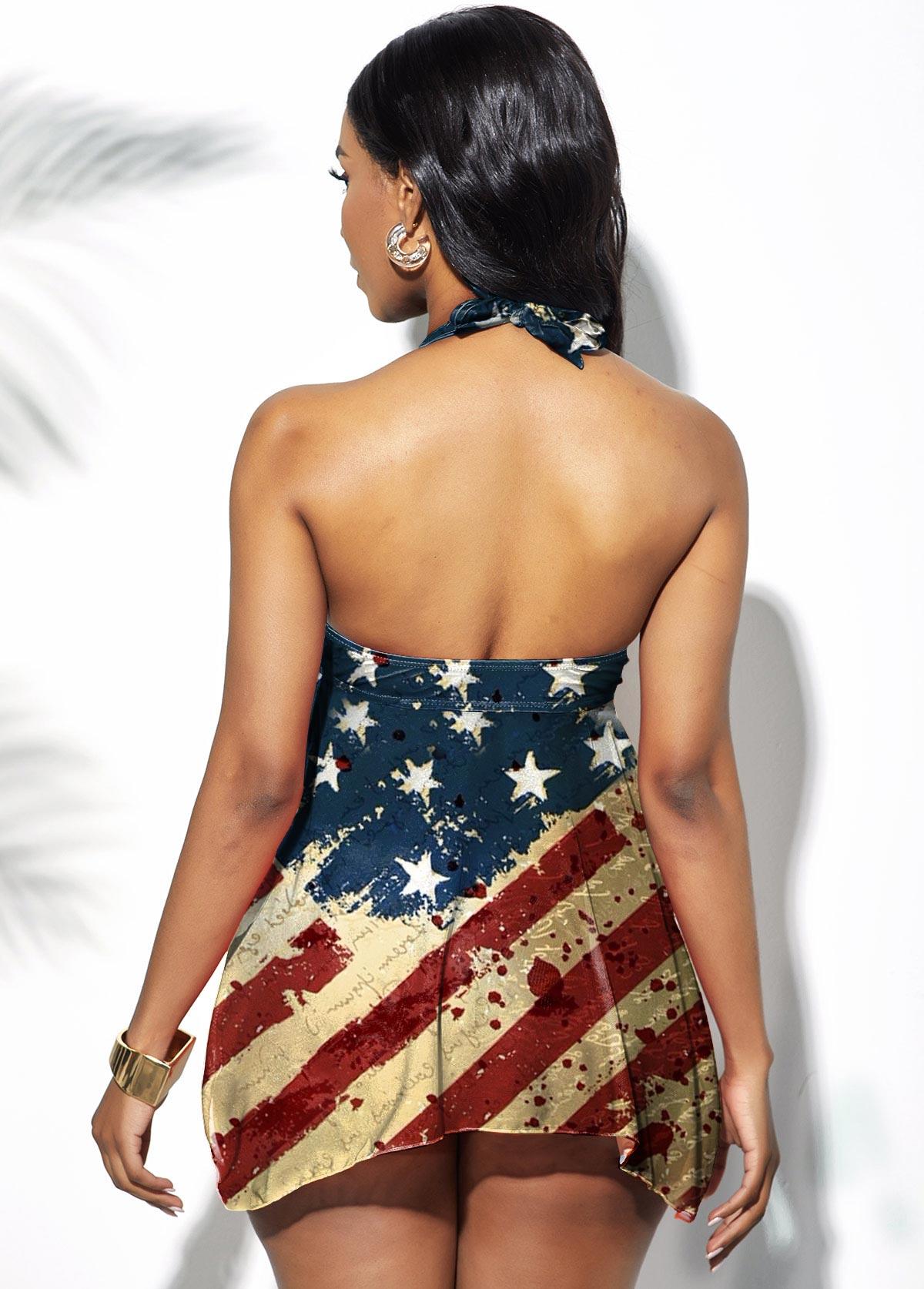 Asymmetric Hem American Flag Print Halter Swimdress and Shorts