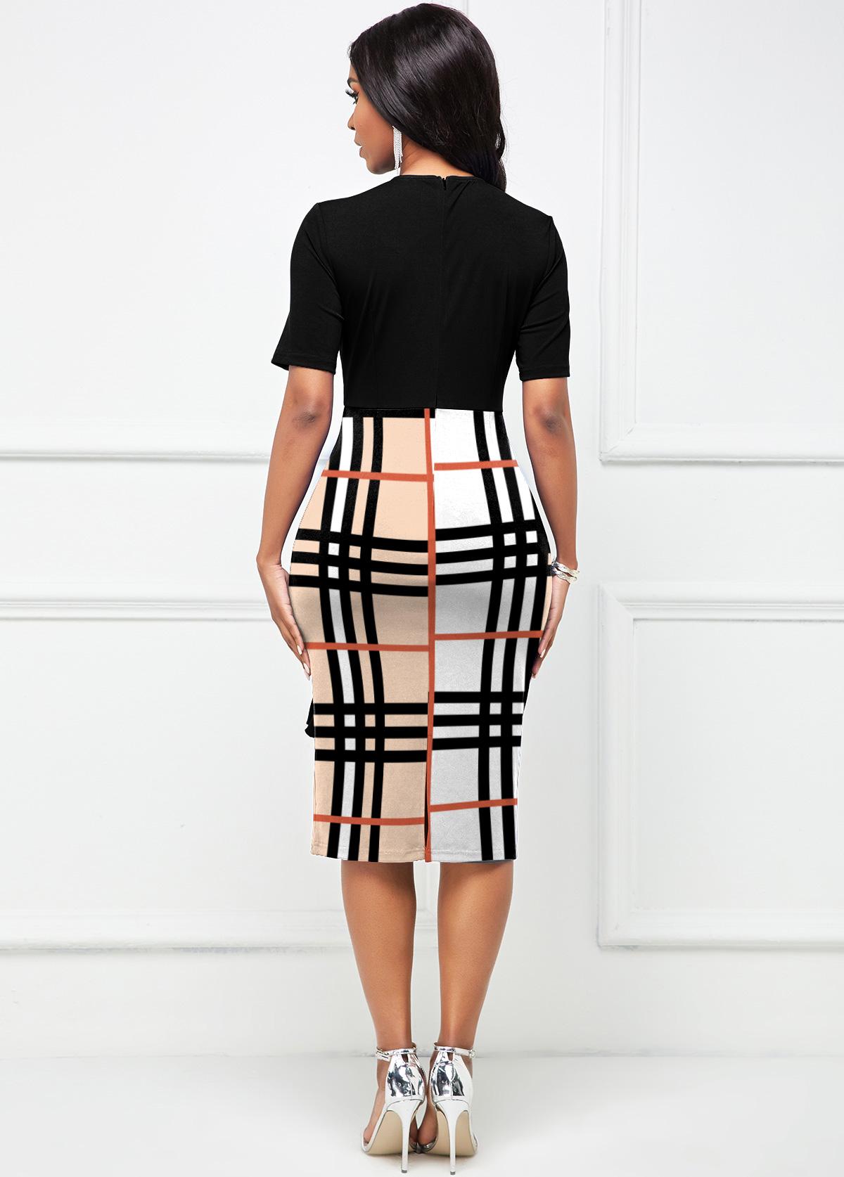 Flounce Plaid Short Sleeve Bodycon Dress