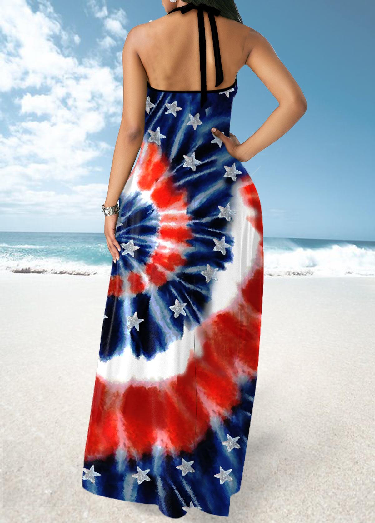 Tie Dye and American Flag Print Cross Strap Maxi Dress