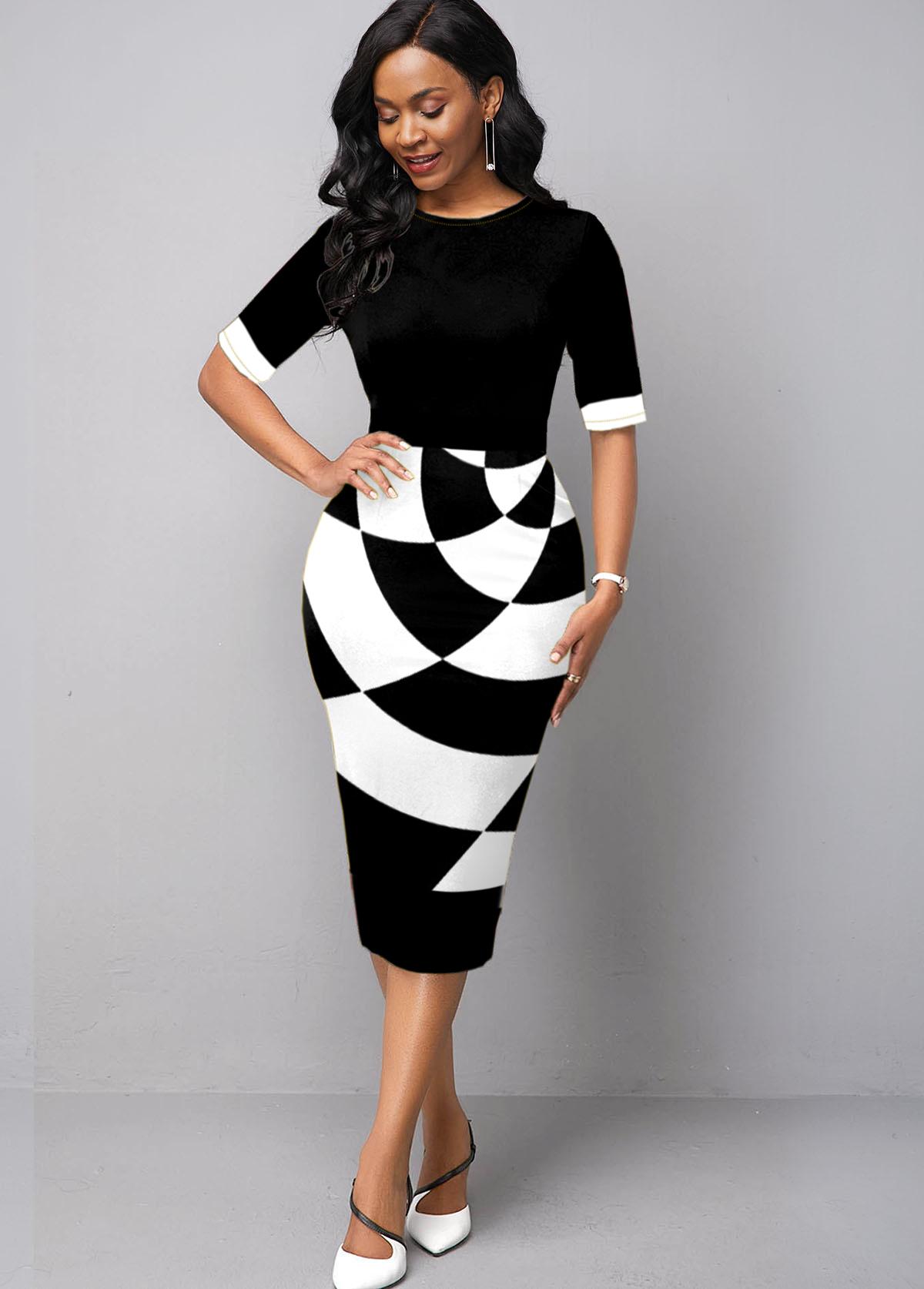 Half Sleeve Geometric Print Round Neck Bodycon Dress