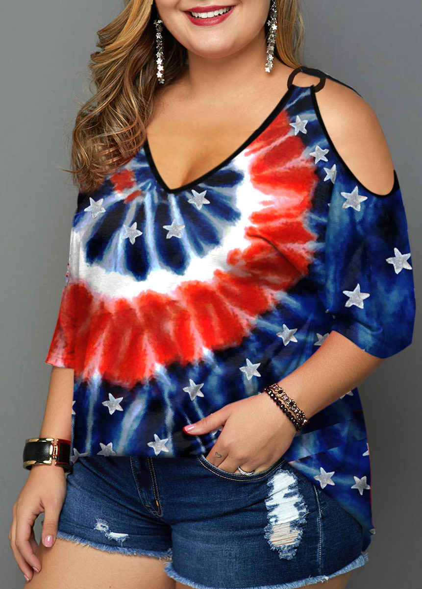 Tie Dye and American Flag Print Plus Size T Shirt