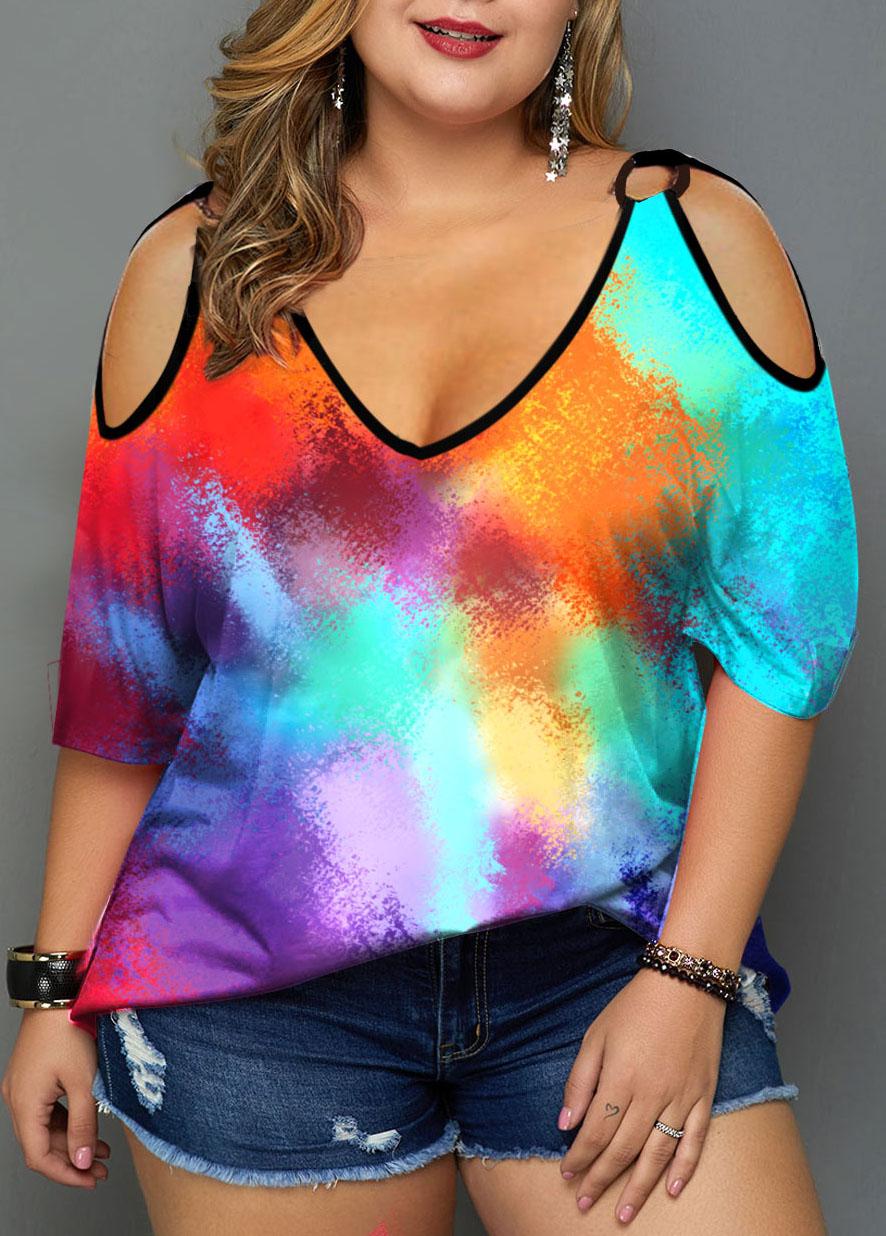 Plus Size Multicolor Tie Dye Print Cold Shoulder T Shirt