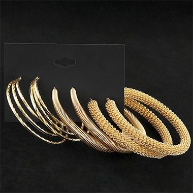 Metal Detail Gold Circular Design Earring Set
