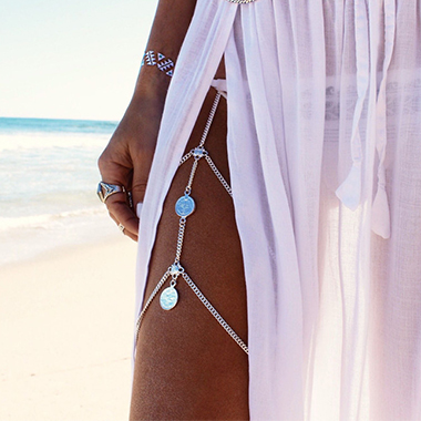 Coin Design Silver Layered Detail Body Chain