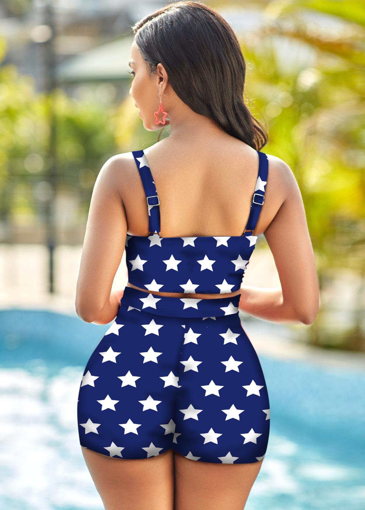 High Waist American Flag Print Spaghetti Strap Bikini Set