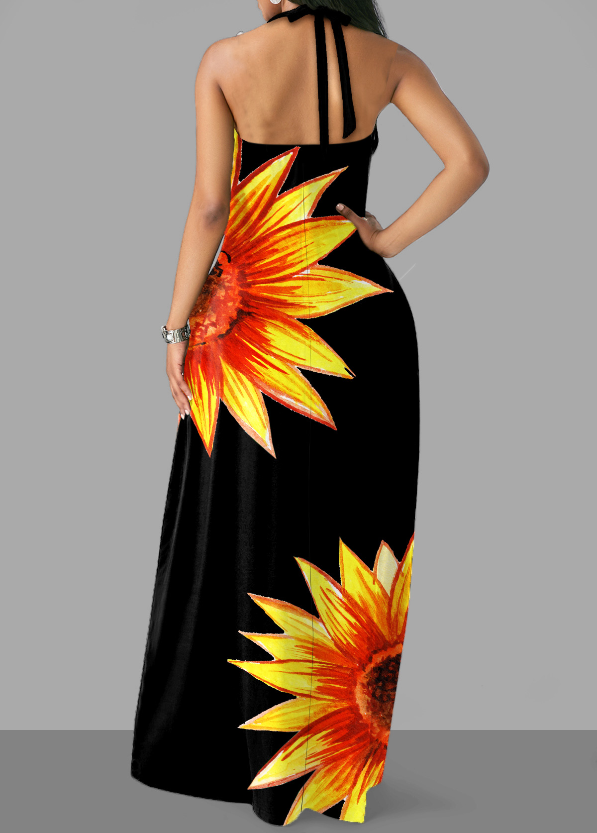 Halter Sunflower Print Cross Strap Dress