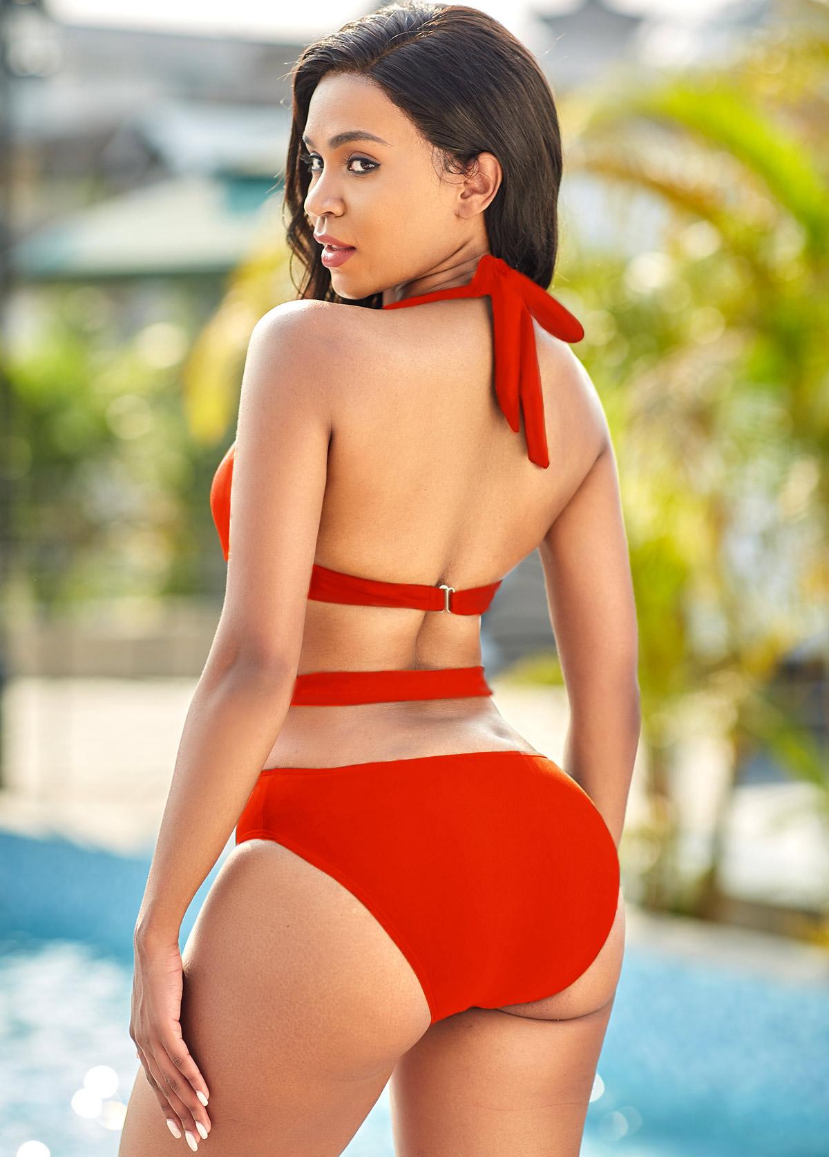 Halter Neck Red Pierced One Piece Swimwear