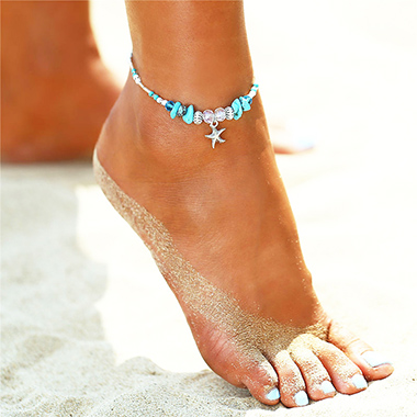 Starfish and Conch Design Turquoise Detail Anklet