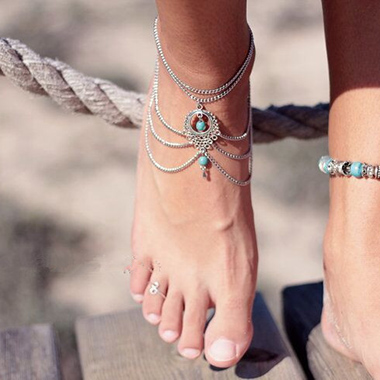 Silver Turquoise Detail Layered Design Anklet