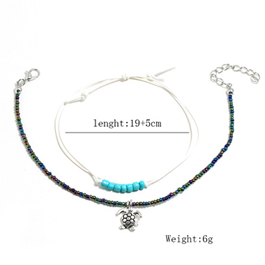 Beads Turquoise Detail Turtle Design Anklets