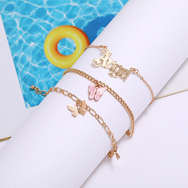 Butterfly Design Gold Metal Detail Anklets