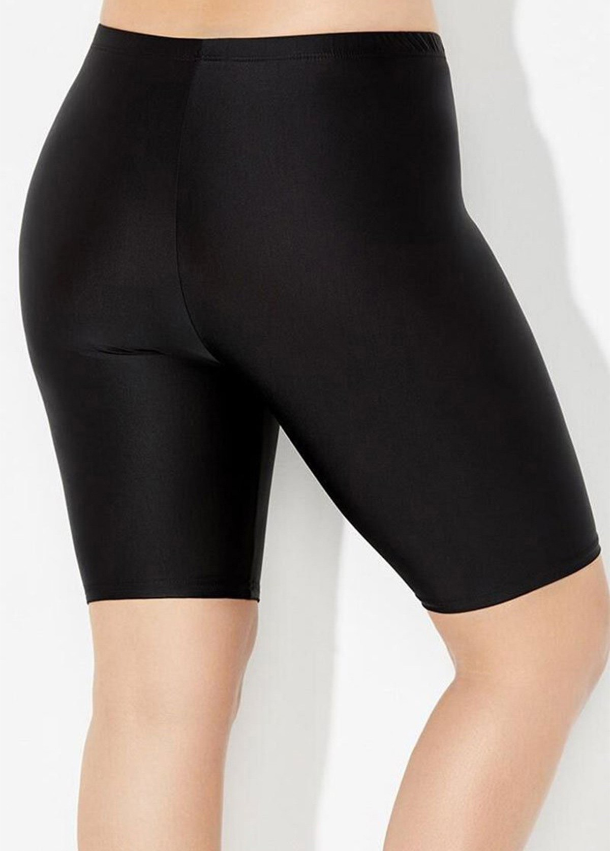 Solid Mid Waist Plus Size Swimwear Bottom