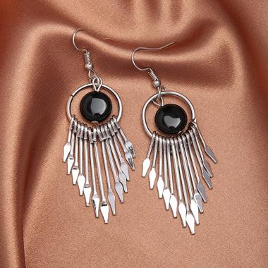 Asymmetric Tassel Hem Silver Metal Earring Set