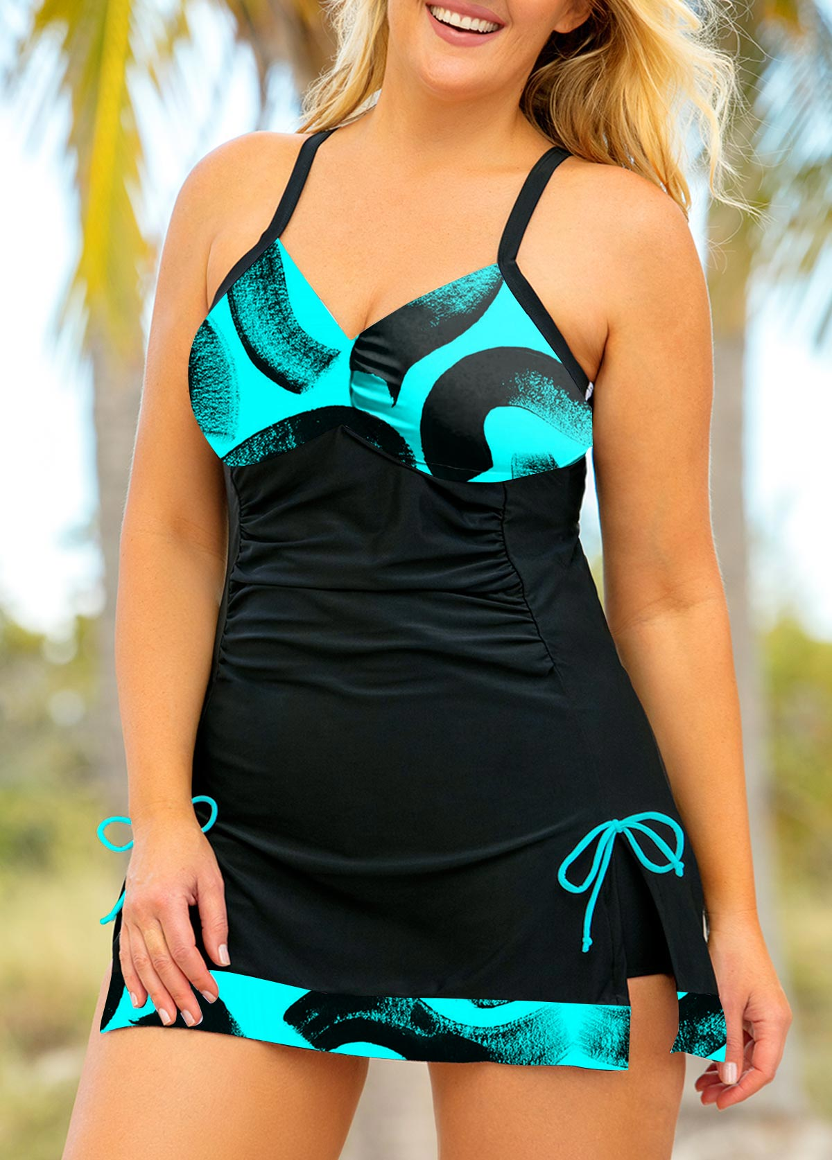 Printed Plus Size Drawstring Side Swimdress and Shorts