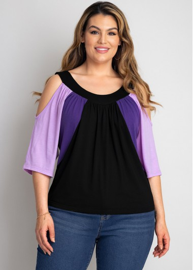Cold Shoulder Plus Size Contrast T Shirt