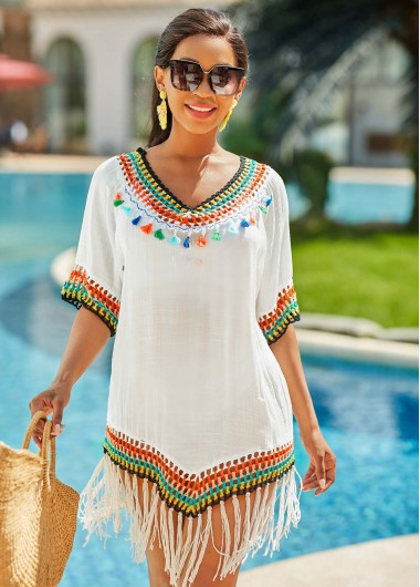 V Neck Rainbow Color Tassel Cover Up