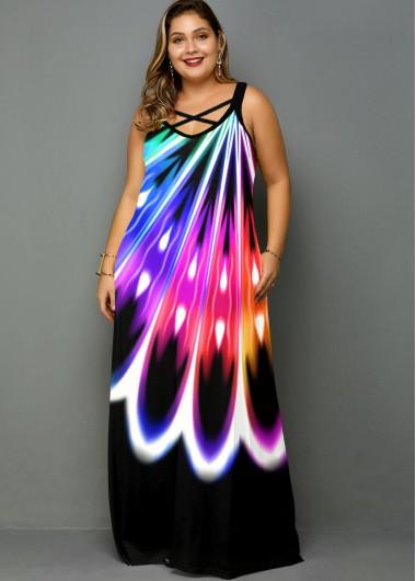 Pocket Plus Size Rainbow Color Dress