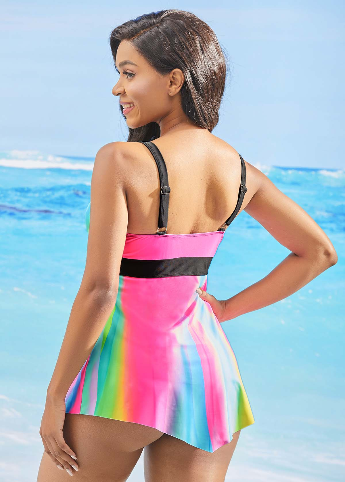 Asymmetric Hem Rainbow Color Printed Swimwear Top