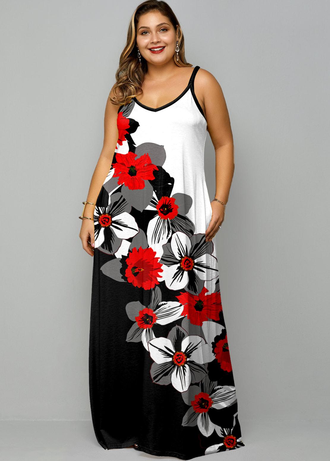 Floral Print Spaghetti Strap Plus Size Maxi Dress