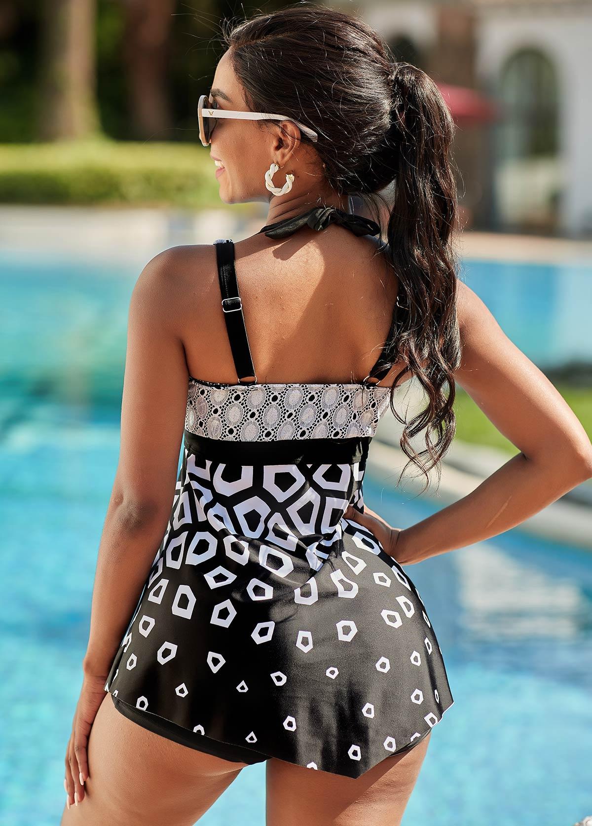 Lace Stitching Geometric Print Swimdress and Shorts